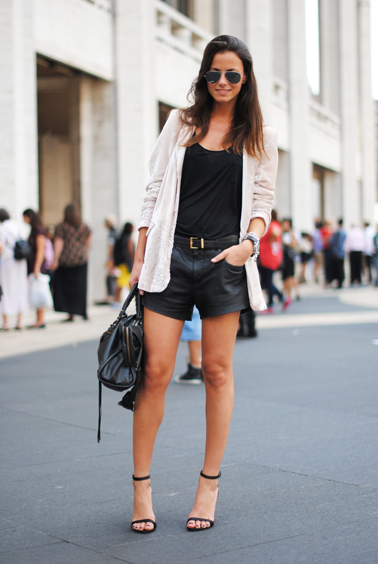 zara blazer, leather shorts, new york fashion week