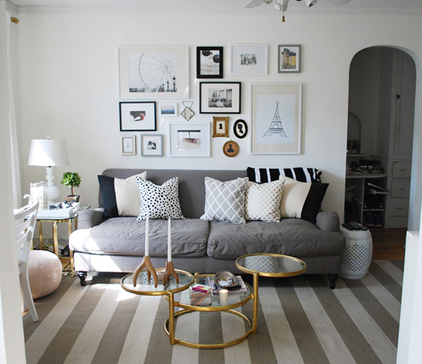 LCY-gallerywall10 - Craigslist Find: Brass/Glass Swivel Coffee Table 1000 Wonderful